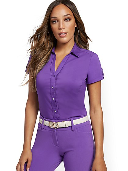 Purple Madison Stretch Shirt - Secret Snap - 7th Avenue - New York & Company