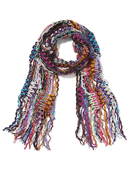 Purple Multi Yarn Fringe Scarf - Sweet Pea - New York & Company