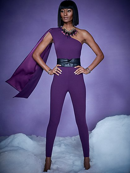 Purple One-Shoulder Jumpsuit - Magic Crepe® - New York & Company