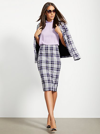 Purple Plaid One-Button Jacket - 7th Avenue - New York & Company