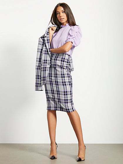 Purple Plaid Pencil Skirt - 7th Avenue - New York & Company