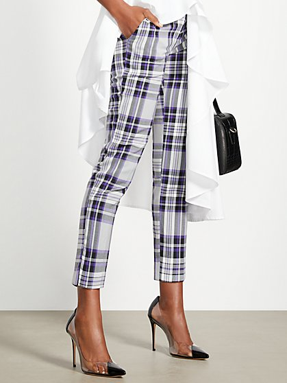 Purple Plaid Slim Ankle Pant - Modern - 7th Avenue - New York & Company