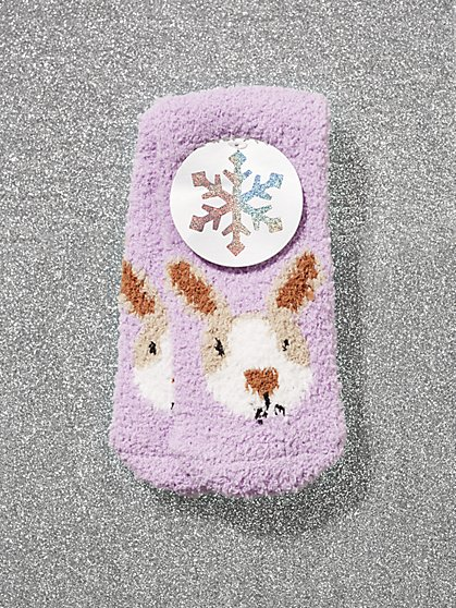 Purple Rabbit-Print Cozy Socks - New York & Company