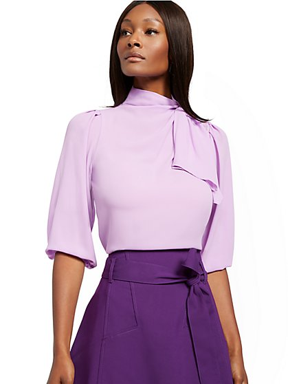 Purple Twist Tie-Neck Blouse - 7th Avenue - New York & Company