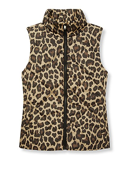 Quilted Animal Print Vest - New York & Company