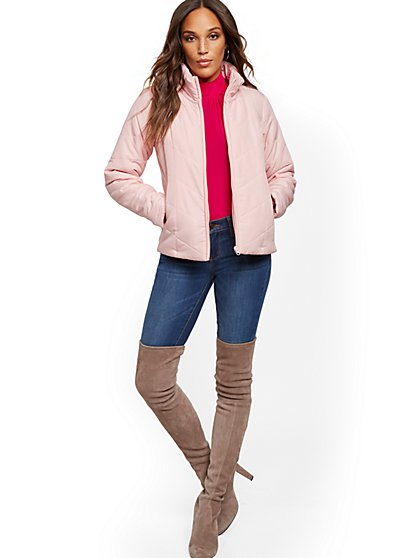 Quilted Chevron Puffer Jacket - New York & Company