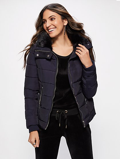 Quilted Faux-Fur Collar Jacket - New York & Company