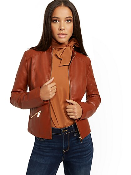 Quilted Faux-Leather Jacket - New York & Company