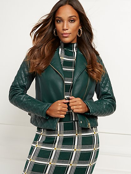 Quilted Faux-Leather Moto Jacket - New York & Company