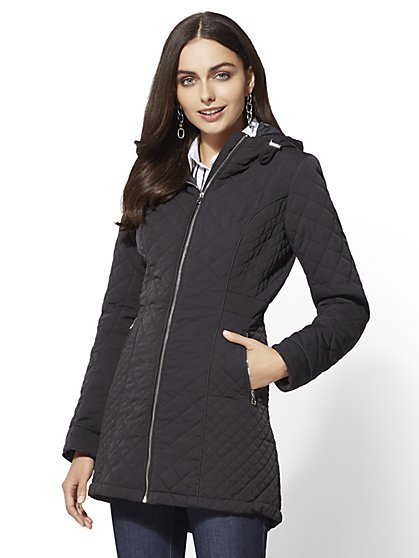 Quilted Hooded Jacket - New York & Company