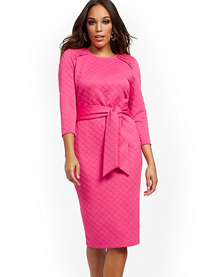 Quilted Ponte Tie-Front Sheath Dress - New York & Company