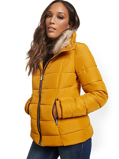 REPREVE® Faux-Fur Hooded Puffer Jacket - New York & Company