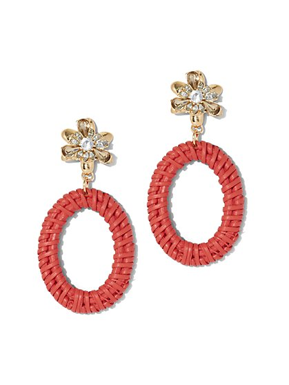 Raffia Open-Oval Drop Earring - New York & Company
