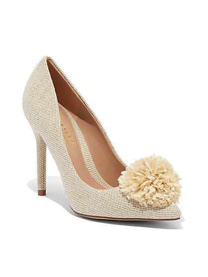 Raffia Pompom Pump - Eva Mendes Collection - New York & Company