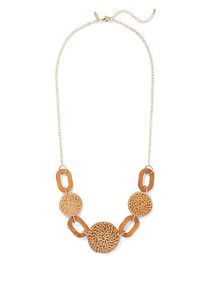 Raffia & Wooden Link Statement Necklace - New York & Company