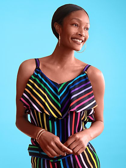 Rainbow Cold-Shoulder Ruffle Top - 7th Avenue - New York & Company
