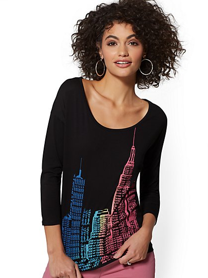 Rainbow Skyline Tee - New York & Company