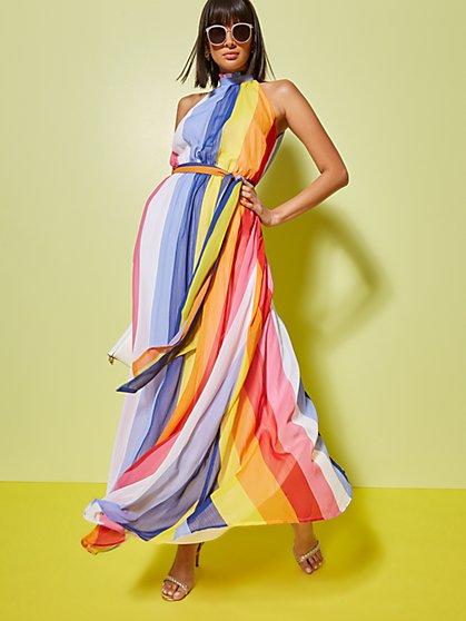 a495e50f6d Rainbow-Stripe Halter Maxi Dress - New York   Company ...