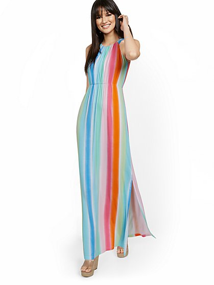 Rainbow Stripe Halter Maxi Dress - New York & Company