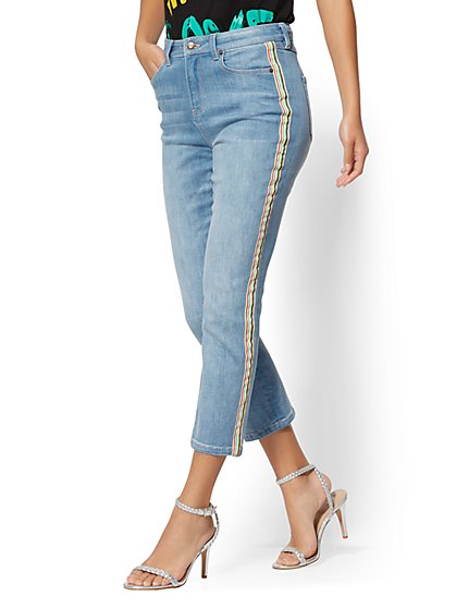 Rainbow-Stripe High-Waist Straight-Leg - Soho Jeans - New York & Company