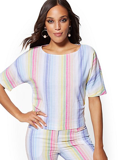 Rainbow-Stripe Linen Top - New York & Company