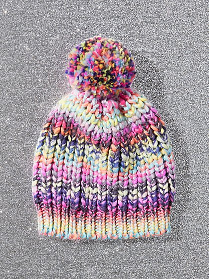 Rainbow-Stripe Pom-Pom Hat - New York & Company