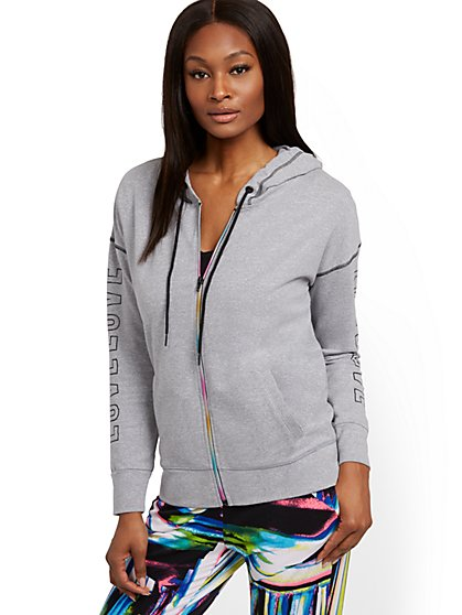Rainbow Zip-Front Hooded Sweatshirt - Soho Street - New York & Company