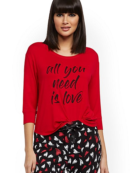 "Red ""All You Need Is Love"" Pajama Top - New York & Company"