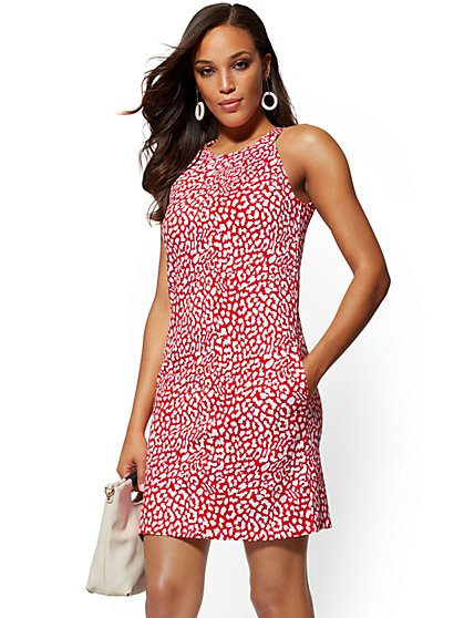 Red Animal-Print Cotton Halter Shift Dress - New York & Company