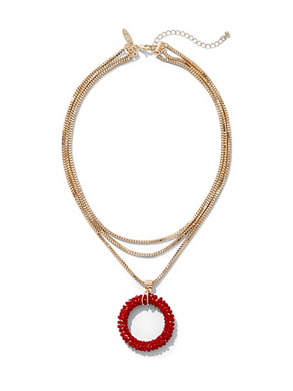 Red Beaded Layered Pendant Necklace - New York & Company