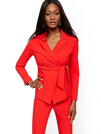 Red Belted Blazer - 7th Avenue - New York & Company