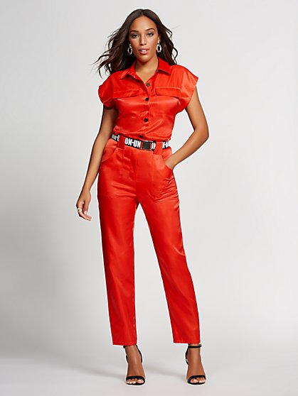 Red Belted Jumpsuit - Gabrielle Union Collection - New York & Company