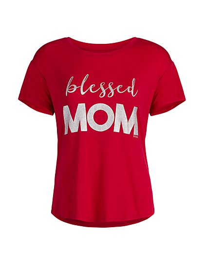"Red ""Blessed Mom"" Sleep Tee - New York & Company"