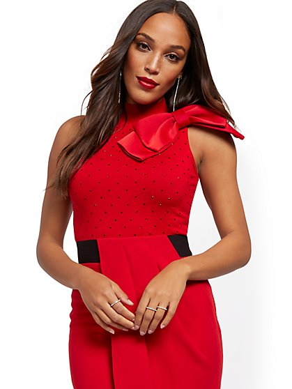 Red Bow-Accent Halter Top - 7th Avenue - New York & Company