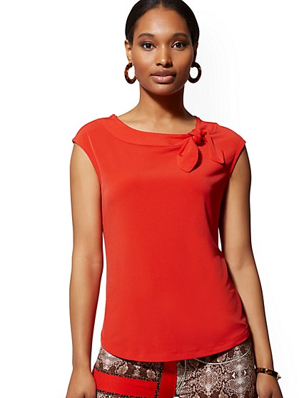 Red Bow-Accent Top - 7th Avenue - New York & Company