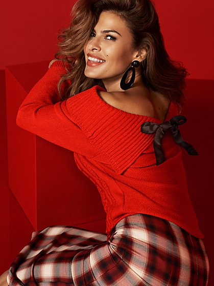 Red Bow-Back Off-The-Shoulder Sweater - New York & Company