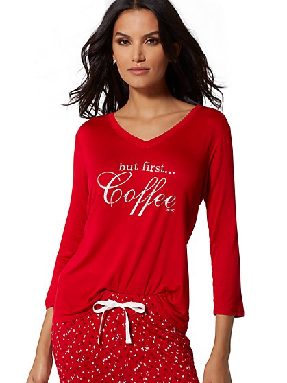"Red ""But First, Coffee"" Sleep Tee - New York & Company"