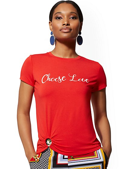 "Red ""Choose Love"" O-Ring Tee - 7th Avenue - New York & Company"