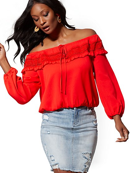 Red Crochet-Trim Peasant Blouse - Lily & Cali - New York & Company