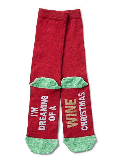 "Red ""Dreaming of a Wine Christmas"" Sock - New York & Company"