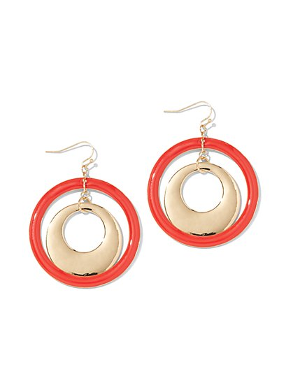 Red Enamel Double Hoop Drop Earring - New York & Company