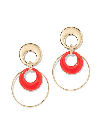 Red Enamel Hoop Drop Earring - New York & Company