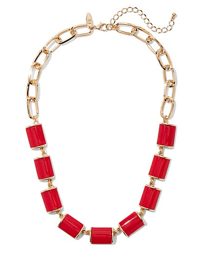 Red Enamel Statement Necklace - New York & Company