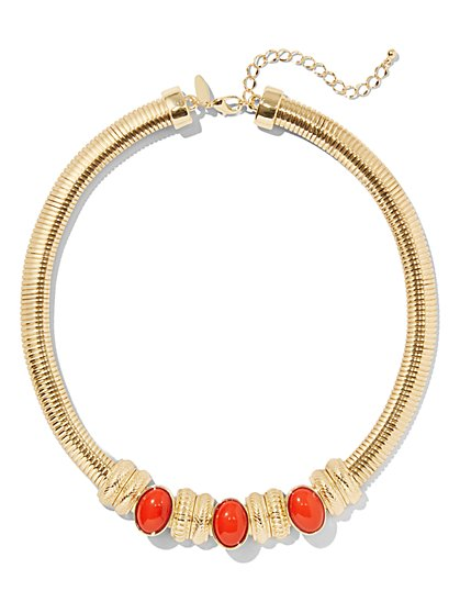 Red Faux-Stone Goldtone Collar Necklace - New York & Company