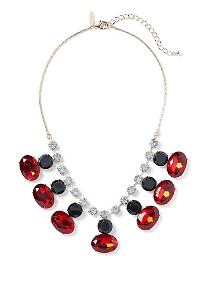Red Faux-Stone Statement Necklace - New York & Company
