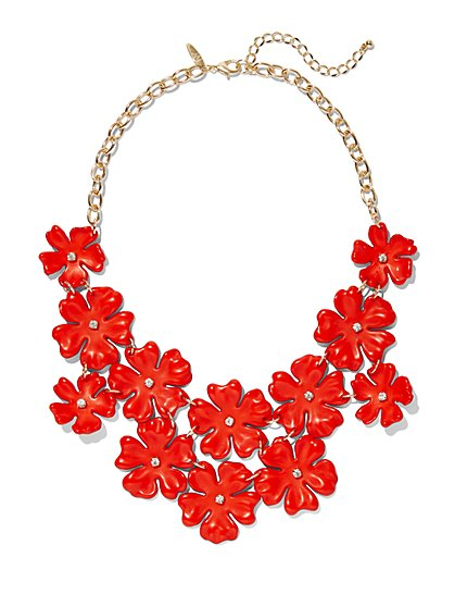 Red Floral Bib Statement Necklace - New York & Company