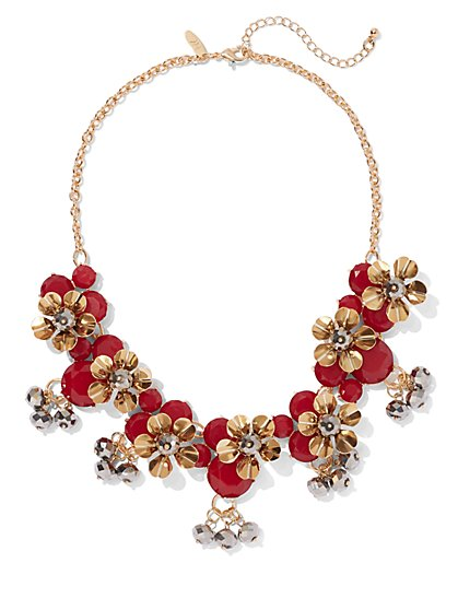 Red Floral Collar Necklace - New York & Company