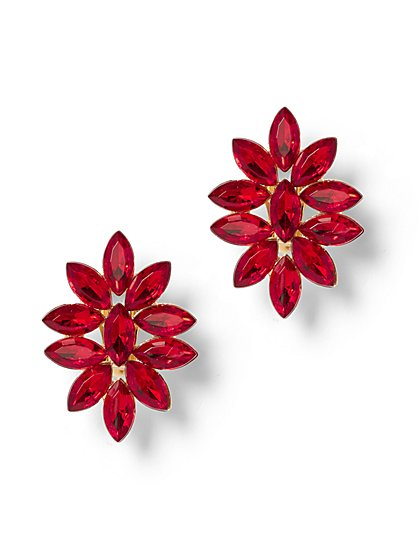 Red Floral Faux-Stone Earring - New York & Company