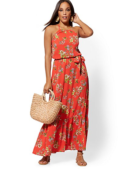 Red Floral Halter Maxi Dress - New York & Company