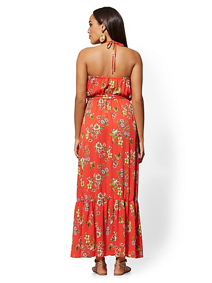 84ee28ea ... Red Floral Halter Maxi Dress - New York & Company